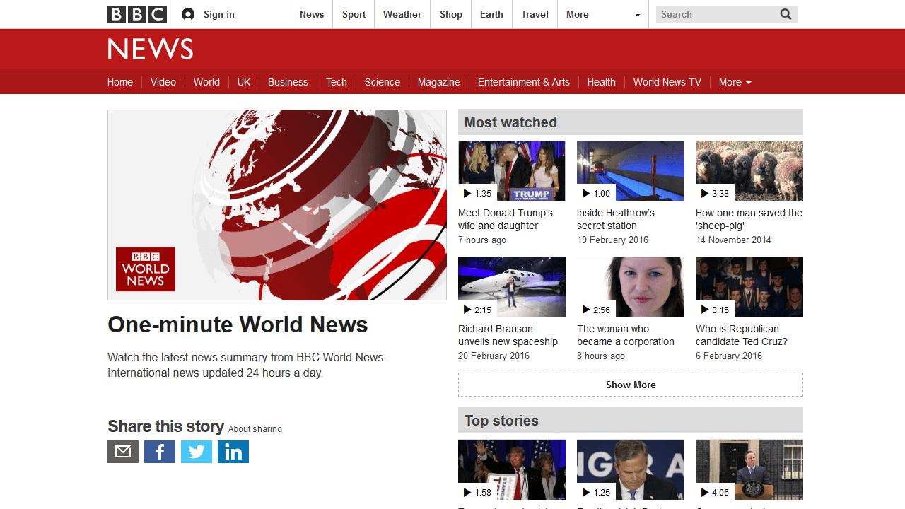 Экспресс новости на BBC