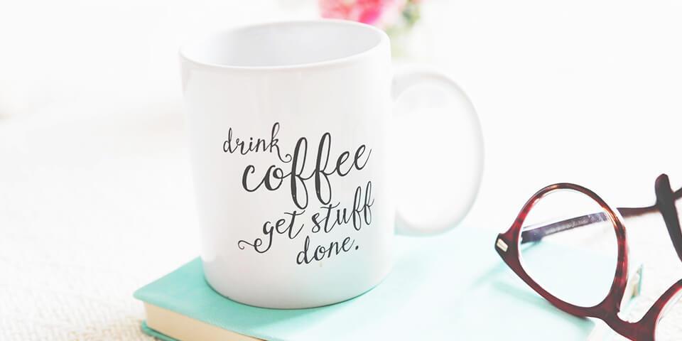 кофе, чашка, утро, работа, блокнот, очки
